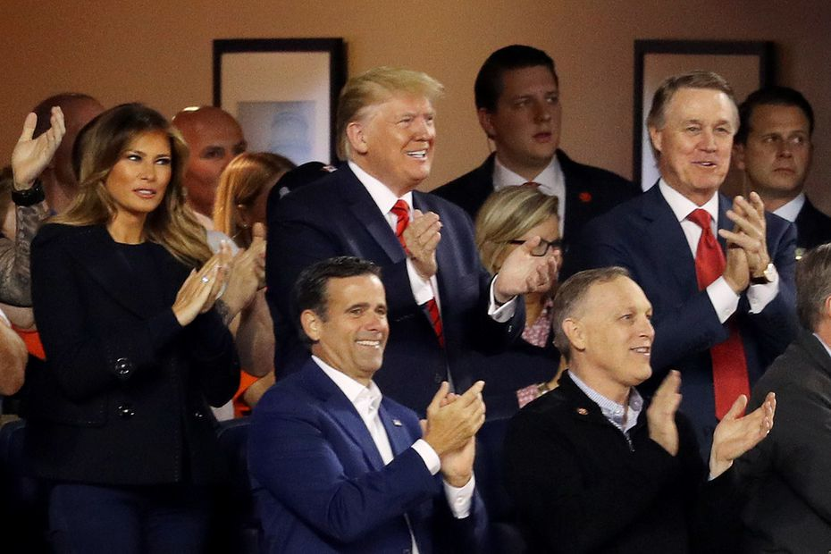 Rep. John Ratcliffe, R-Heath, (blue blazer, one row below the president) attends Game 5 of the 2019 World Series with President Donald Trump at Nationals Park on October 27, 2019 in Washington.