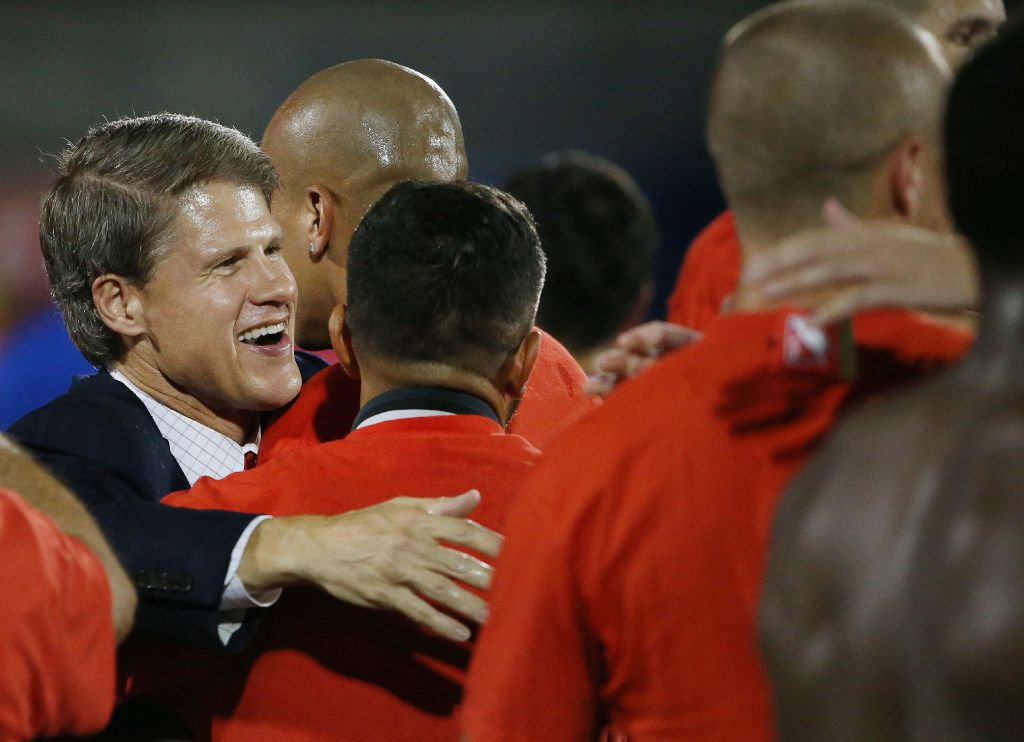 Clark Hunt, son of Lamar Hunt, celebrates with FC Dallas following the U.S. Open Cup Finals between the New England Revolution and FC Dallas at Toyota Stadium in Frisco, Texas Tuesday September 13, 2016. FC Dallas beat New England Revolution 4-2. FC Dallas had the longest trophy drought in Major League Soccer history of 19 years. The team, known as the Dallas Burn, won the Lamar Hunt U.S. Open Cup in 1997. (Andy Jacobsohn/The Dallas Morning News)