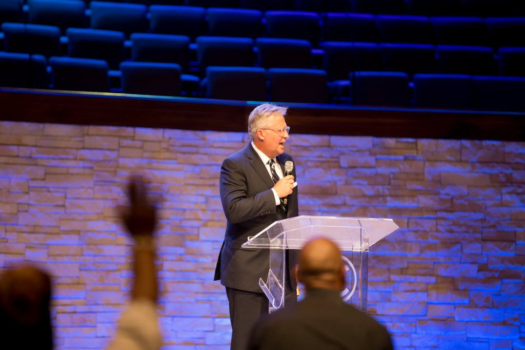 Pastor George Mason of Wilshire Baptist Church spoke during a Together We Stand service at Concord Church in July in Dallas. (Ting Shen/Staff Photographer)