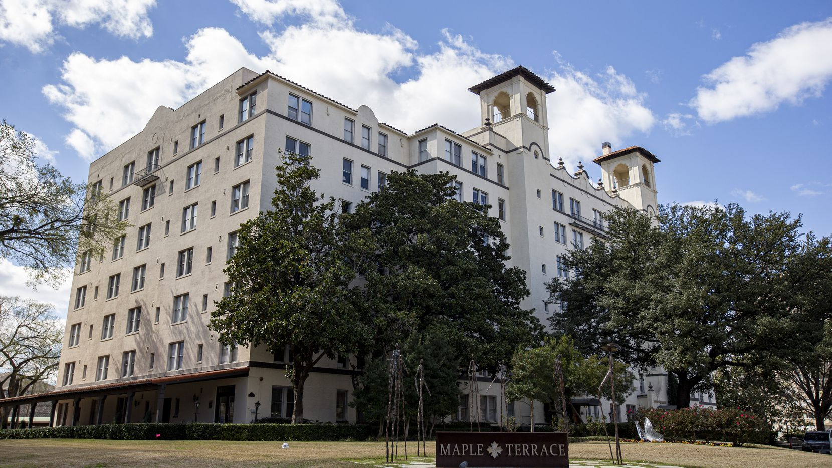 The historic Maple Terrace Apartments in Dallas at 3001 Maple Ave. Broken elevators have been a recurring problem, so some residents have to walk up seven floors.