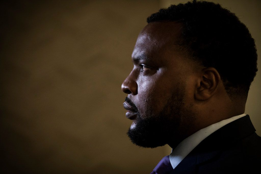 Civil rights attorney Lee Merritt sits for an interview at his downtown office on Friday, June 1, 2018, in Dallas. (Smiley N. Pool/The Dallas Morning News)
