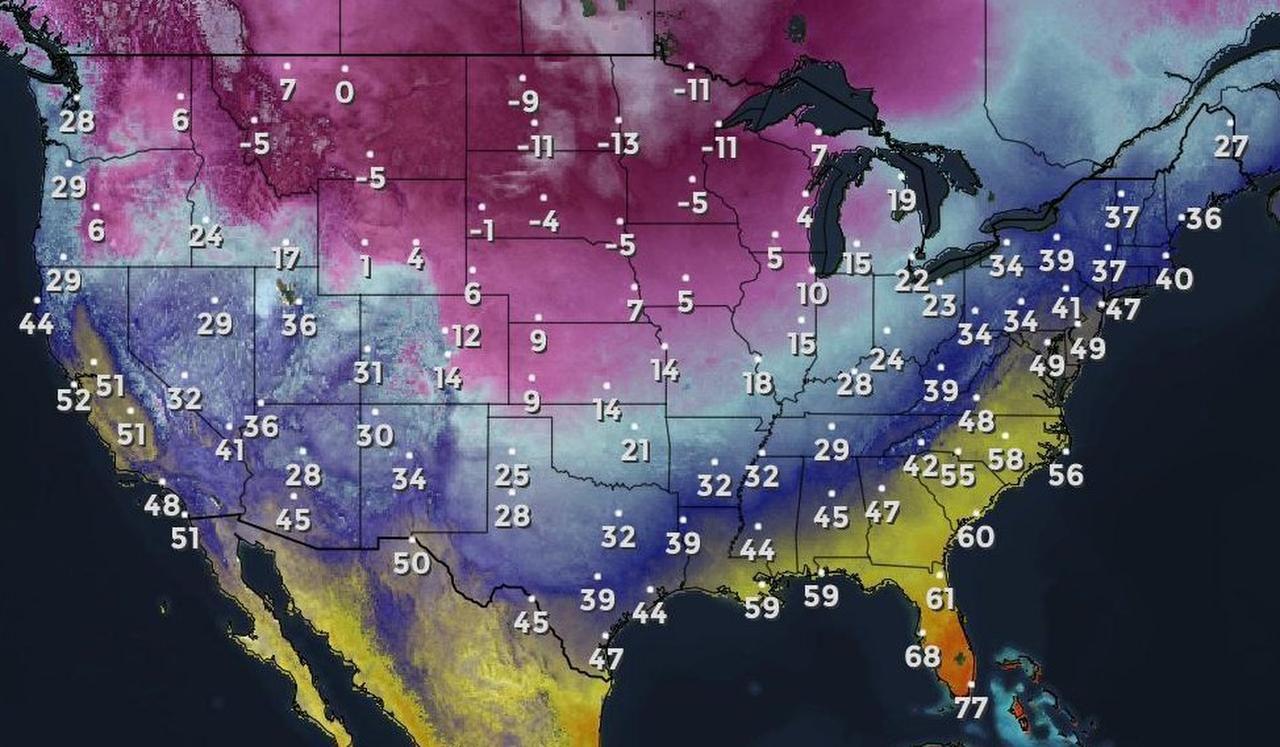 El frente frío que se extiende desde estados en la costa oeste al sur de Estados Unidos.(SERVICIO METEREOLOGICO DE ESTADOS UNIDOS)