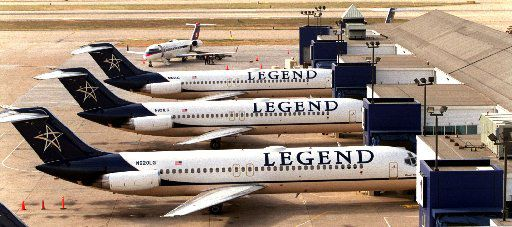 What remained of Legend Airlines at Dallas Love Field after its demise in 2000