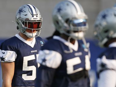 Dallas Cowboys linebacker Leighton Vander Esch (55) makes his way down the field in between drills during training camp at the Dallas Cowboys headquarters at The Star in Frisco, Texas on Sunday, August 16, 2020.