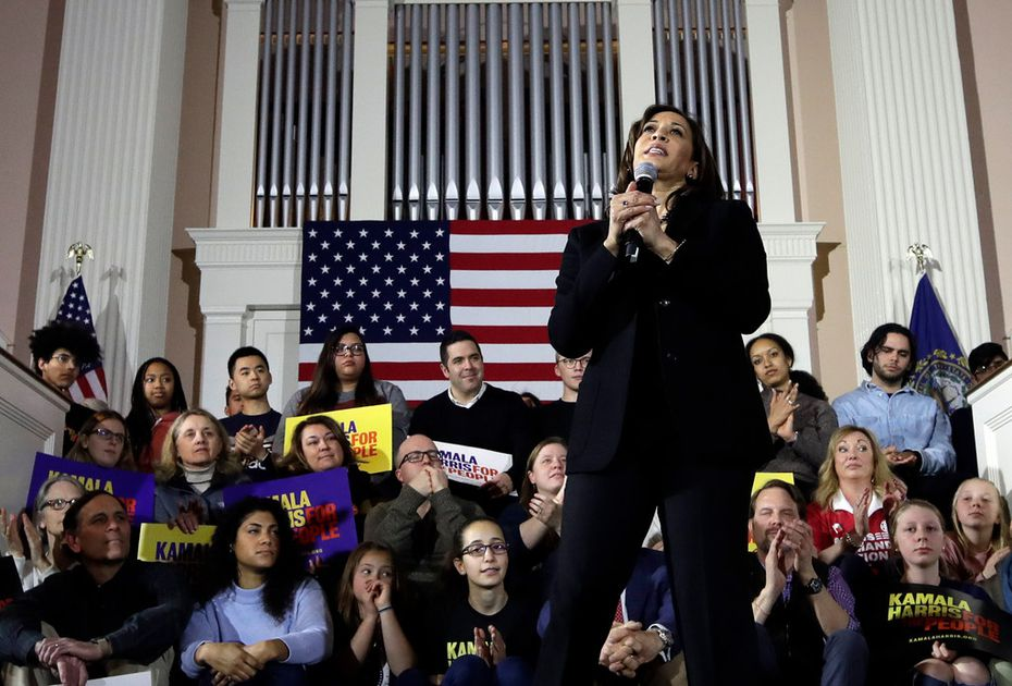 Democratic presidential candidate Sen. Kamala Harris, D-Calif., speaks at a campaign event in Portsmouth, N.H., Monday, Feb. 18, 2019.