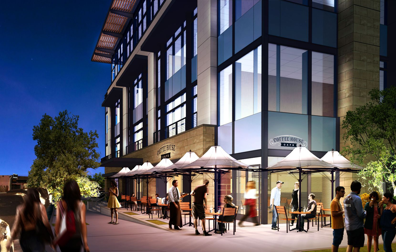 The planned office development will have a coffee shop on the ground floor.