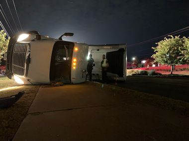 An overturned 18-wheeler is causing delays Monday morning in Southlake.