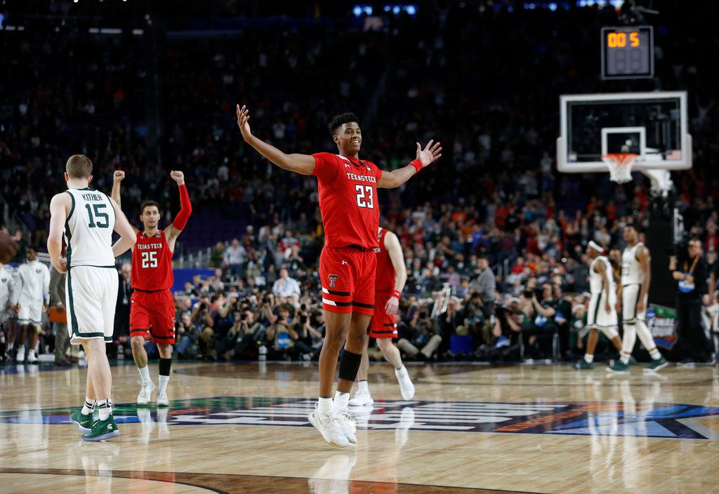 Texas Tech Red Raiders guard Jarrett Culver (23) celebrates as the clock runs out during the second half of play in the semifinals of the Final Four NCAA college basketball tournament at U.S. Bank Stadium in Minneapolis on Saturday, April 6, 2019. Texas Tech Red Raiders defeated the Michigan State Spartans 61-51. (Vernon Bryant/The Dallas Morning News)