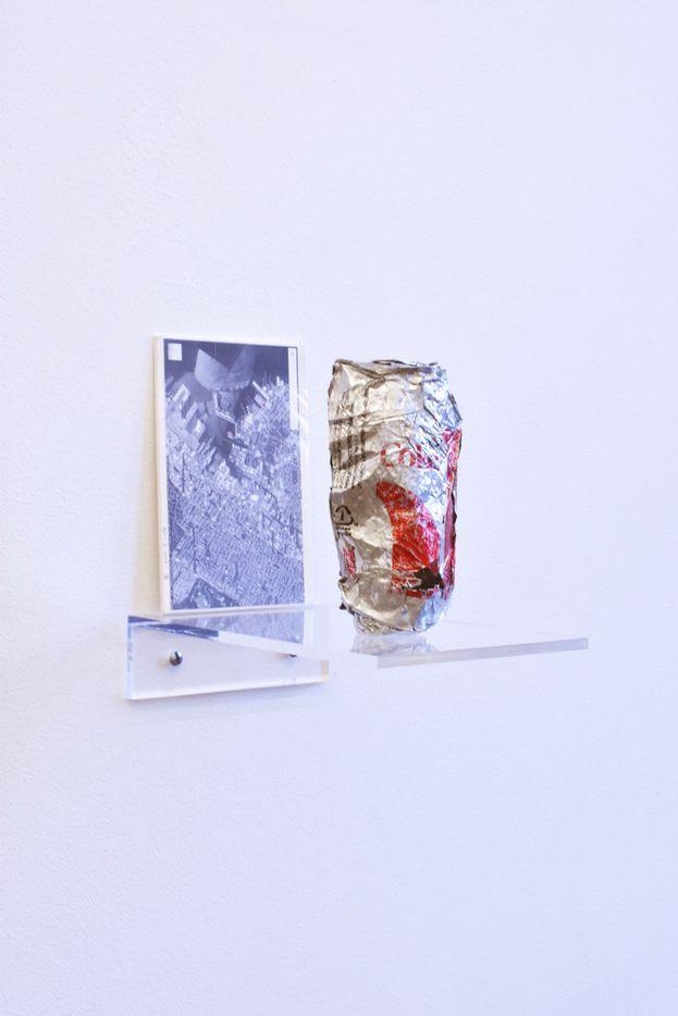 Nobutaka Aozaki Street Can: Diet Coke (12 fl oz) (4/3/2014 Red Hook, Brooklyn), 2014; reconstructed tin can, map, and plexiglas