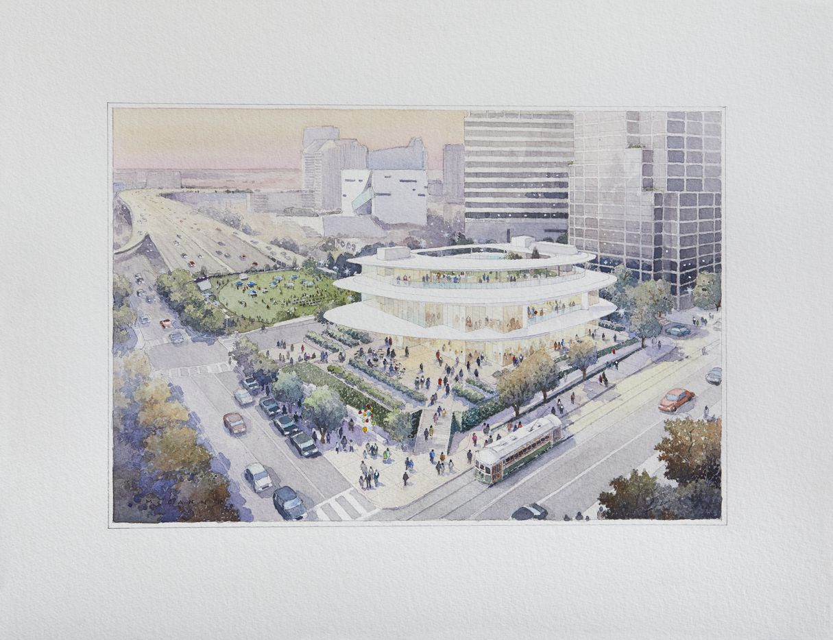 Rendering shows the relation of The Jacobs Lawn to The Pavilion, which sits between St. Paul and Akard. The Jacobs Lawn is to the west of Akard, covering the last recessed part of the freeway.