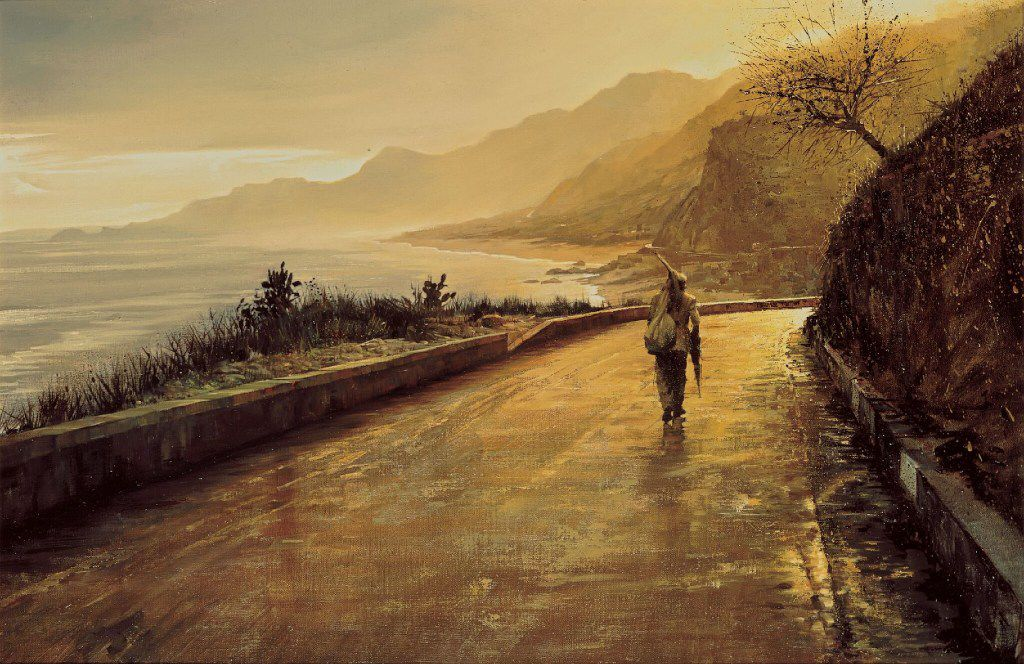 """Clark Hulings, The Lonely Man, oil on Canvas, 20 x 30"""", Sicily, 1967"""