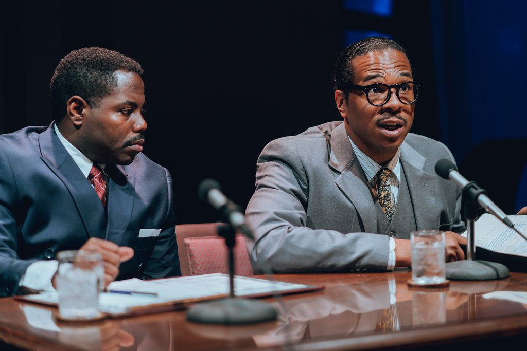 Christopher Dontrell Piper (left) plays Frank Reeves, Langston Hughes' lawyer, and Djoré Nance plays persecuted playwright Langston Hughes, in the Stage West production in Fort Worth of a new play about Hughes' life.