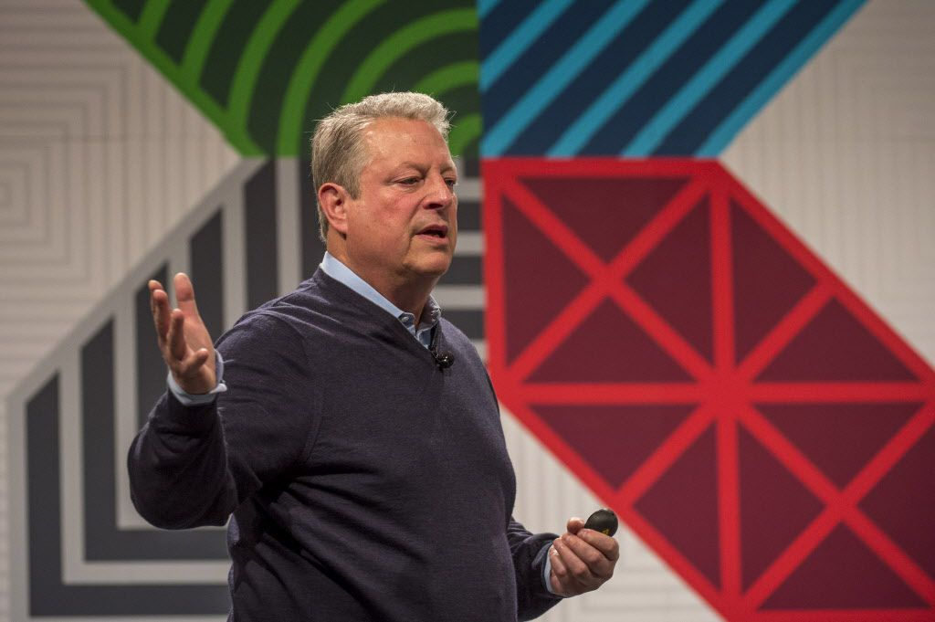 Former U.S. Vice President Al Gore speaks during a keynote session at the South By Southwest (SXSW) Interactive Festival in Austin, Texas, U.S., on Friday, March 13, 2015. Photographer: David Paul Morris/Bloomberg
