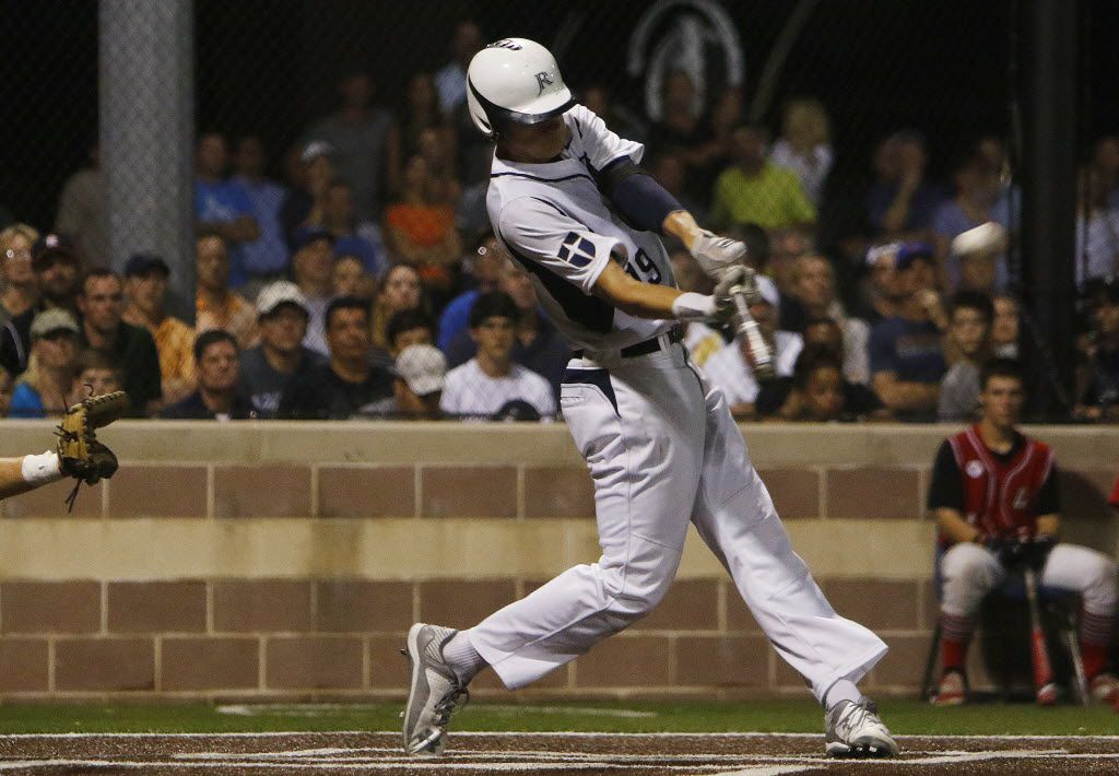 Dallas Jesuit right fiedler Kyle Muller doubles in the sixth inning during the Class 6A Region II semifinal game 2 of three between Austin Lake Travis and Dallas Jesuit at Dallas Jesuit High School in Dallas on Friday, May 29, 2015. (Michael Reaves/The Dallas Morning News
