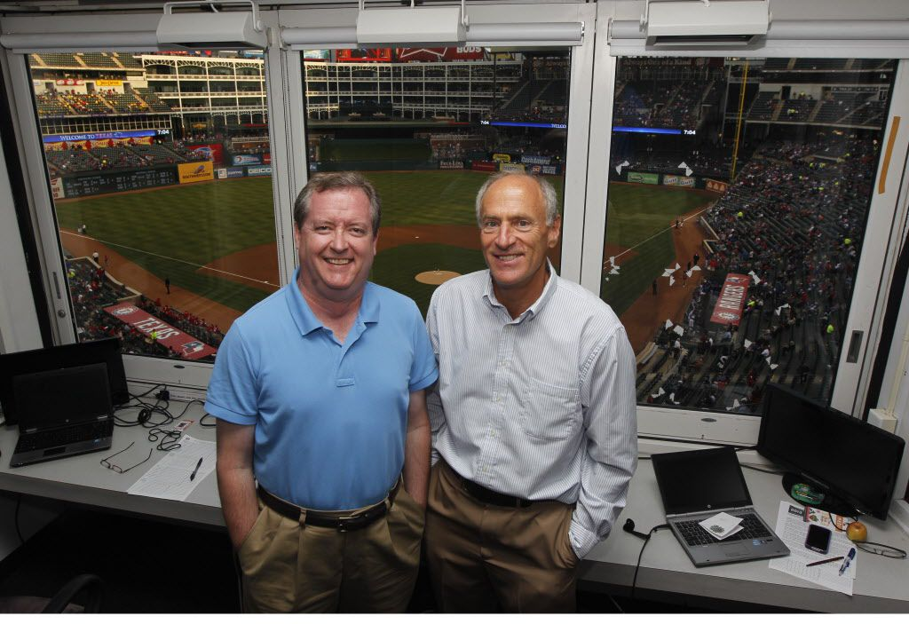 Texas Rangers broadcasters Matt Hicks and Eric Nadel at Rangers Ballpark in Arlington on March 28, 2013.