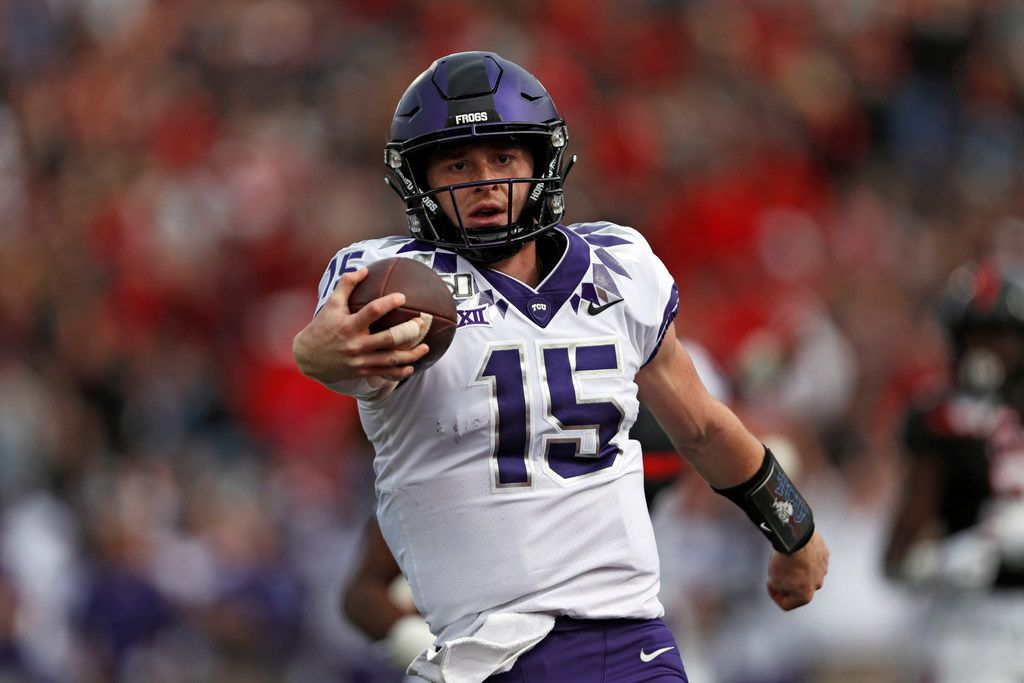 TCU quarterback Max Duggan (15) is the Horned Frogs' Heisman hopeful in 2020. (Brad Tollefson/Lubbock Avalanche-Journal via AP)