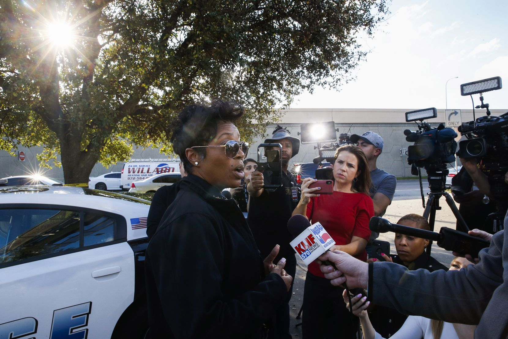 Dallas Police Chief U. Reneé Hall addressed the media as police investigated at a hotel where two children and two adults were found shot to death in Far North Dallas.