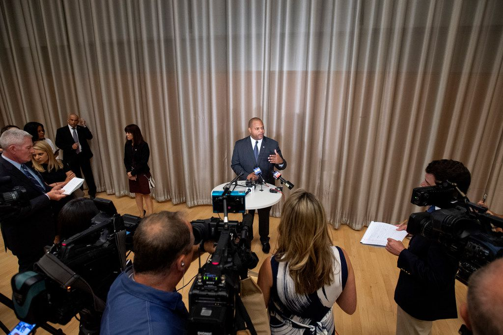 Newly-inaugurated Dallas Mayor Eric Johnson answers questions from the media about his plans to address a recent spike in violent crime after taking the oath of office on Monday, June 17, 2019 at the Winspear Opera House in Dallas.