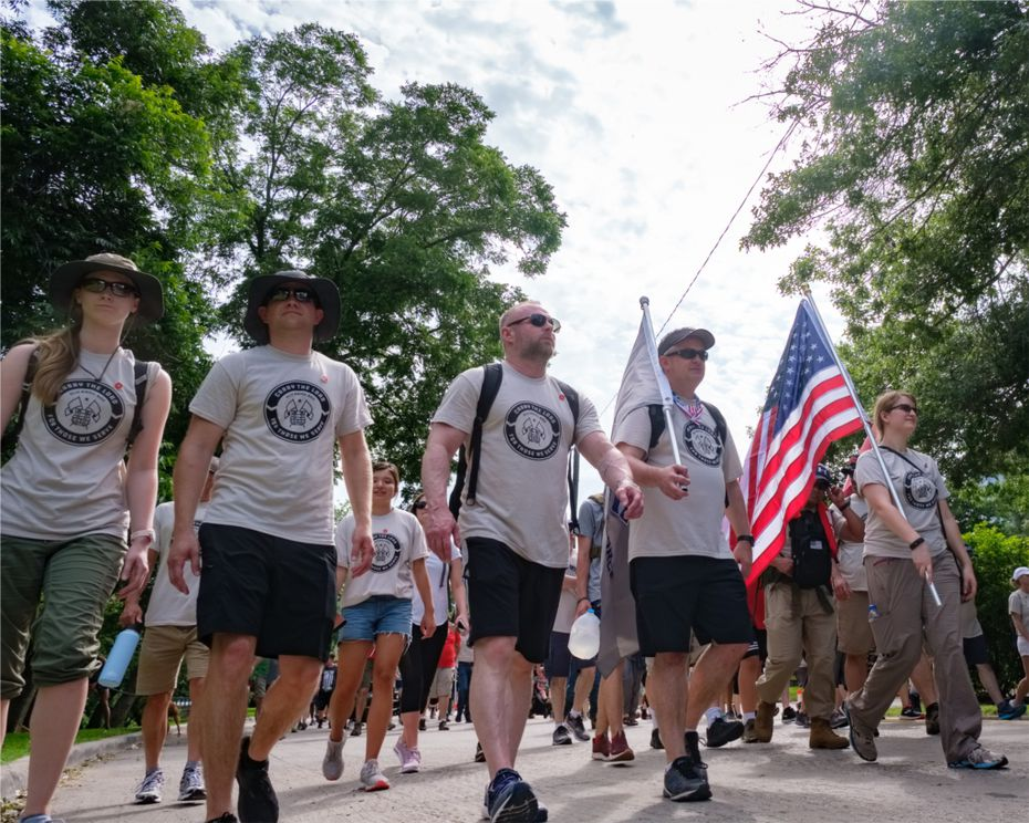 USAA workers in a Carry the Load march.