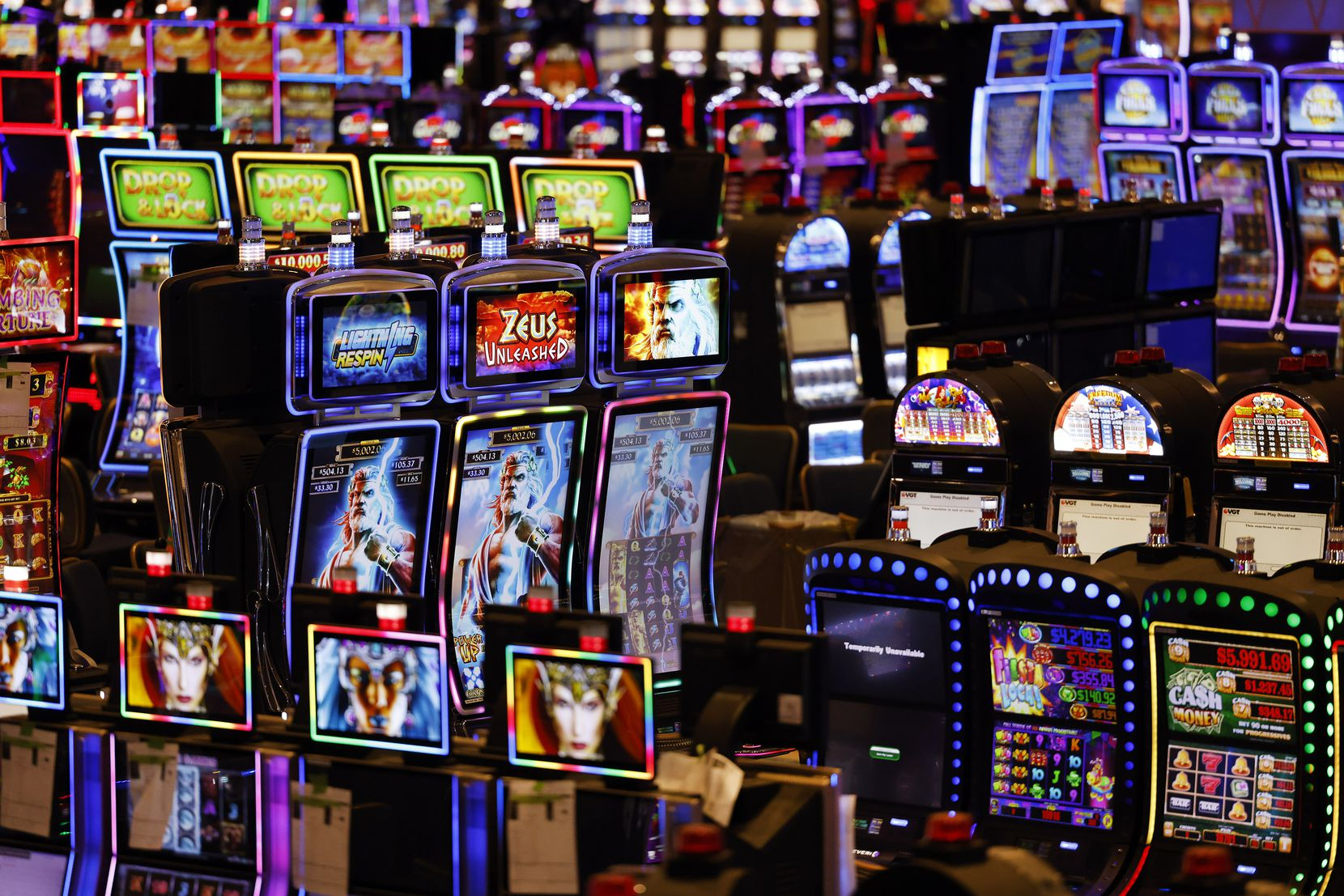 Some of the new 3,300 slot machines at Choctaw Casino and Resort's new 21-story Sky Tower complex in Durant, Okla.