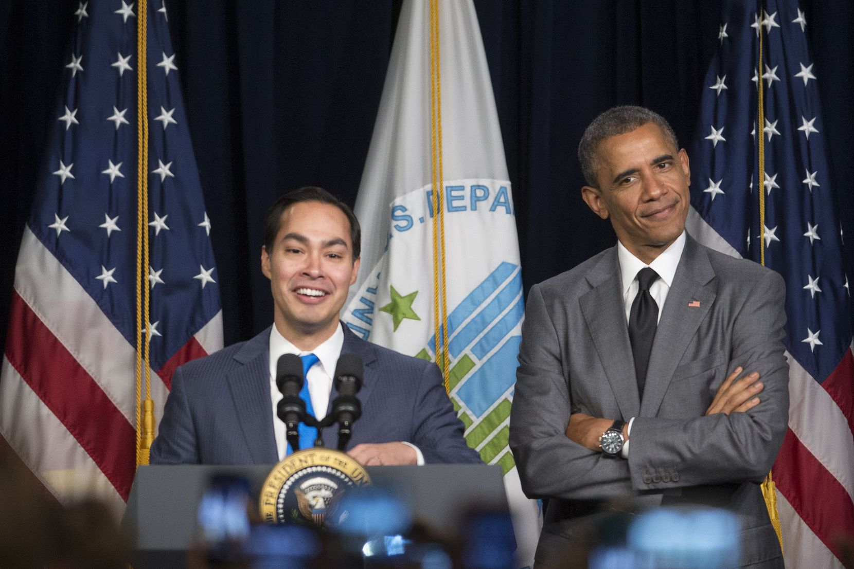 Former President Barack Obama and HUD Secretary Julian Castro spoke at the Department of Housing and Urban Development.