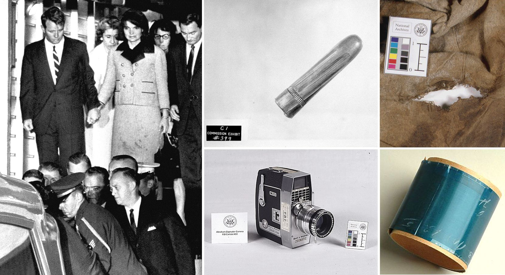 Artifacts from the Kennedy assassination that are preserved in the National Archives include (clockwise from left): The bloodstained outfit Jacqueline Kennedy refused to change out of until her return to Washington; a bullet found on a stretcher at Parkland Memorial Hospital where President Kennedy was taken; a bullet hole in the shirt Lee Harvey Oswald was wearing when he was killed by Jack Ruby; the dictabelt from a Dallas police motorcycle that recorded audio of the assassination; and the movie camera used by Abraham Zapruder when he filmed the moment of Kennedy's death.