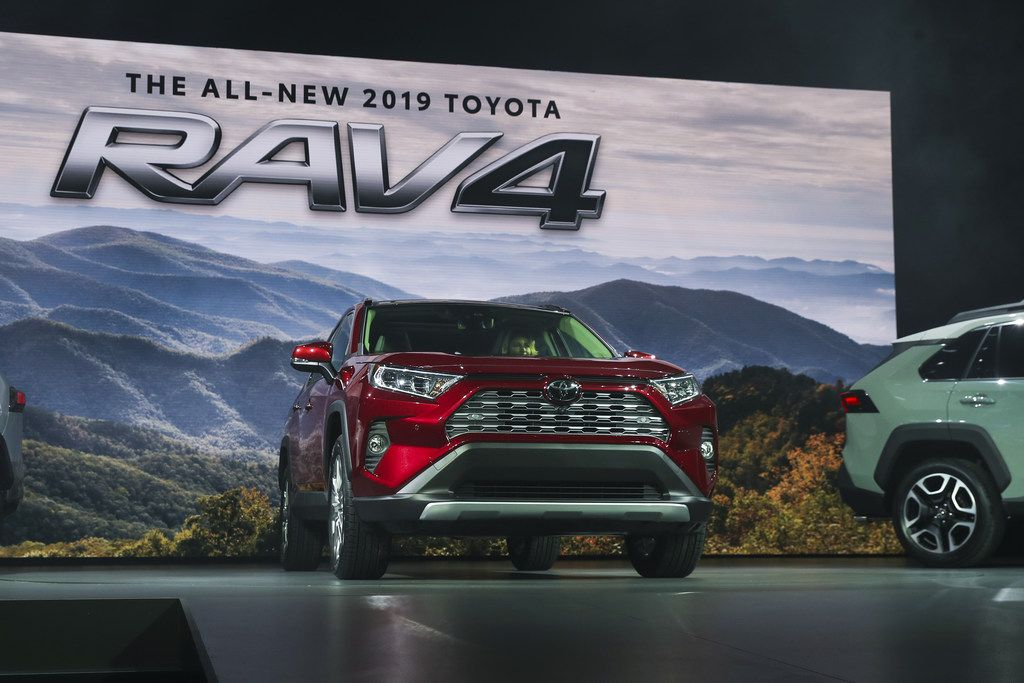 NEW YORK, NY - MARCH 28: Toyota unveils the 2019 Toyota RAV4 at the New York International Auto Show, March 28, 2018 at the Jacob K. Javits Convention Center in New York City. SUVs and crossovers are expected to capture most of the attention at this year's show. Despite car sales declining for the first time in seven years in 2017, SUVs and crossovers remain a bright spot in the auto industry. The auto show opens to the public on March 30 and will run through April 8. (Photo by Drew Angerer/Getty Images)