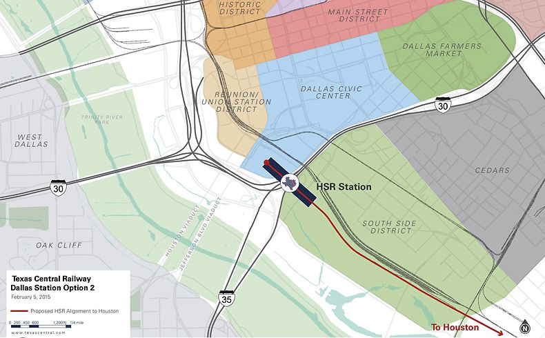 The second potential Dallas terminal site for Texas Central Railway's high-speed Dallas-to-Houston line straddles Interstate 30 and includes a portion of the first potential site along with property adjacent to the Kay Bailey Hutchison Convention Center.