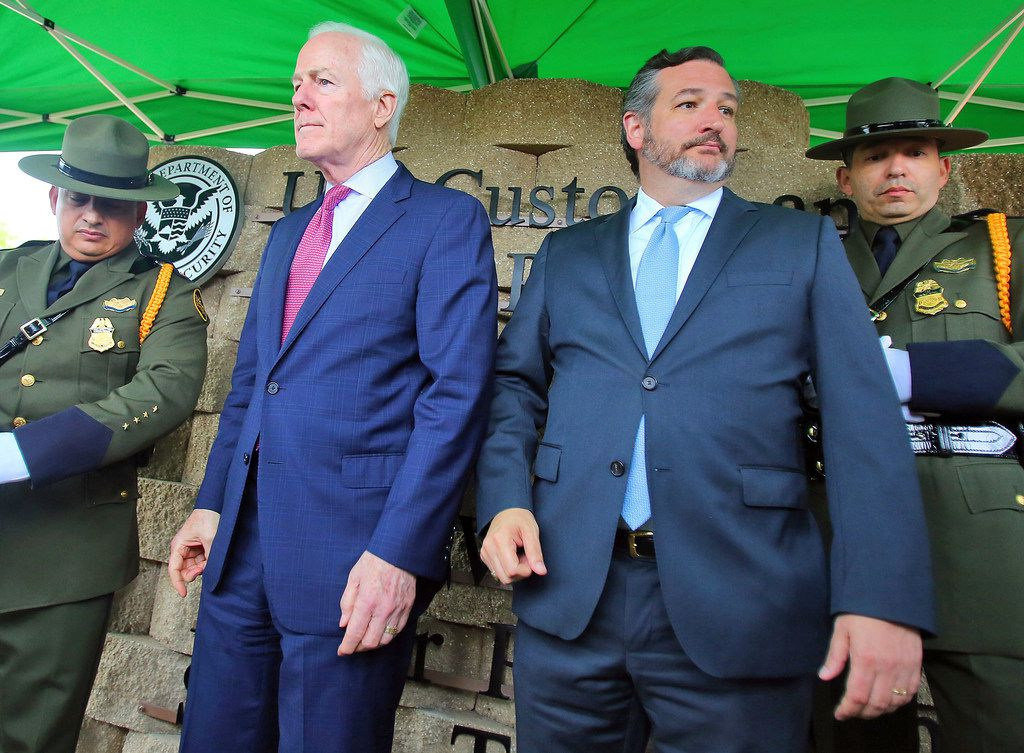 Texas Sens. John Cornyn and Ted Cruz weighed in on the decision by the Senate Intelligence Committee to subpoena Donald Trump Jr. Cornyn and Cruz posed for pictures after a renaming ceremony at the Javier Vega Jr. Border Patrol Checkpoint on March 20, 2019, near Sarita, Texas.