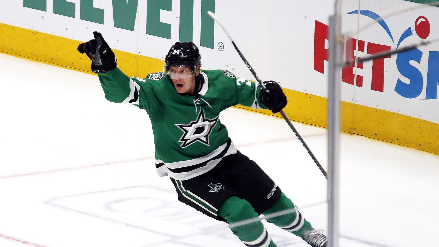 Dallas Stars right wing Denis Gurianov celebrates his goal during the second period against the Tampa Bay Lightning of an NHL hockey game in Dallas, Monday, Jan. 27, 2020.