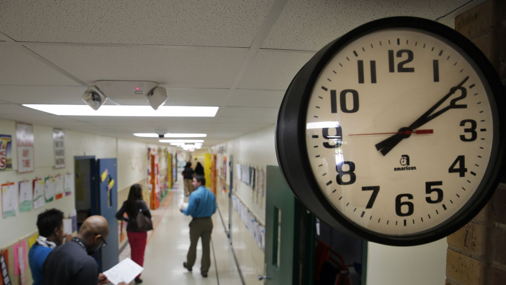 A file photo of a clock at Pleasant Run Elementary in Lancaster ISD on Monday, April 13, 2015. In October 2019, the district sued a board trustee, saying she should not serve as an advocate for children with special needs.  (Tom Fox/The Dallas Morning News)