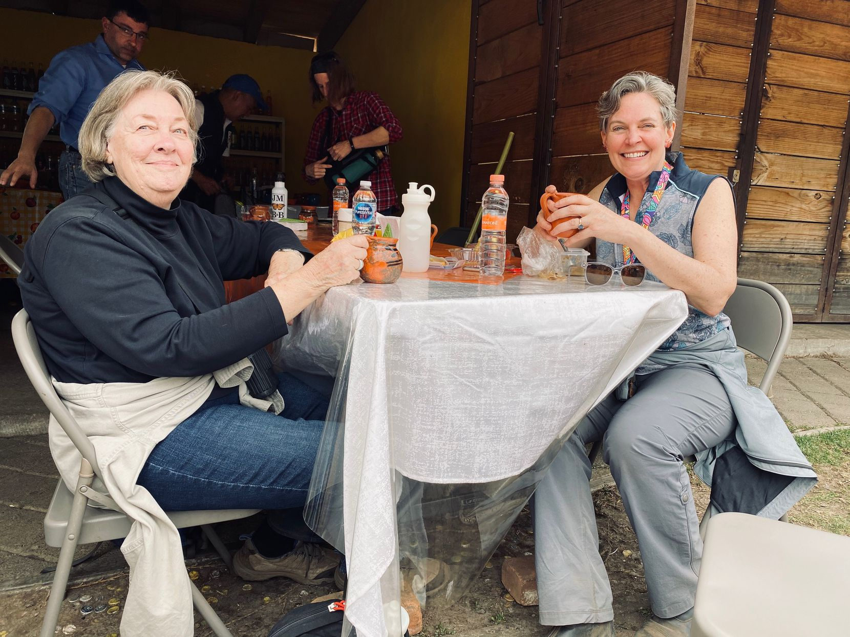 Betsy and her daughter Lisa A. Johnson enjoy lunch in El Rosario, Michoacan, after visiting the monarch butterfly sanctuary on March 5. They said they weren't worry about coronavirus, and relieved to be away from the nonstop updates in the United States.