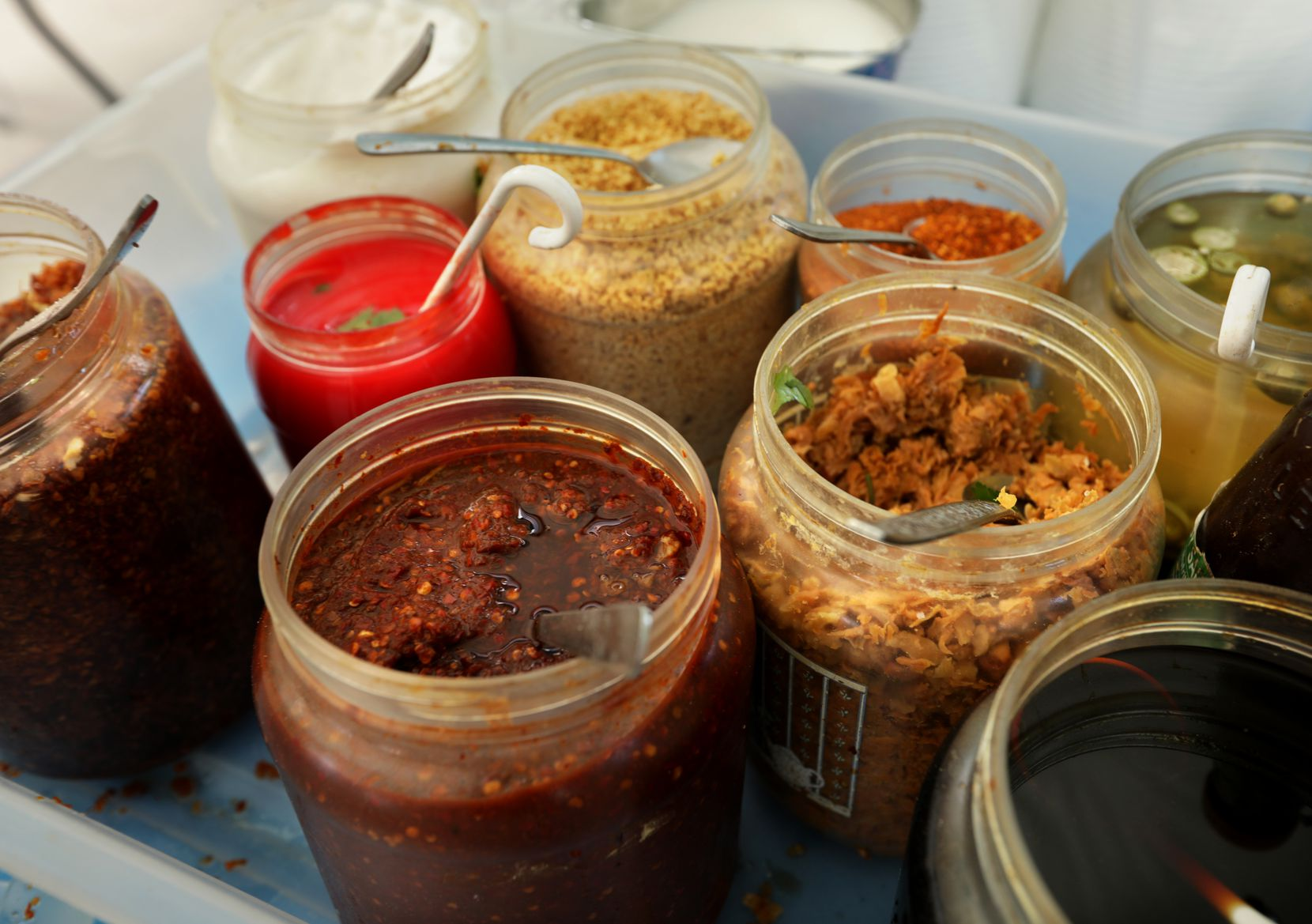 Spices and condiments used during the Sunday Thai Food Market