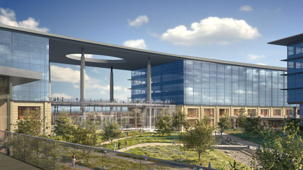 An architect's rendering of how Toyota's 2.1-million square foot campus will look when the construction crews are done.