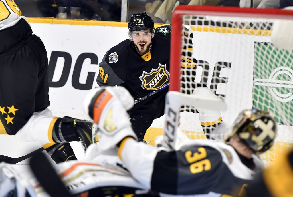 Jan 31, 2016; Nashville, TN, USA; Central Division forward Tyler Seguin (91) of the Dallas Stars reacts after a save by Pacific Division defenseman John Gibson (36) of the Anaheim Ducks during the 2016 NHL All Star Game at Bridgestone Arena. Mandatory Credit: Christopher Hanewinckel-USA TODAY Sports