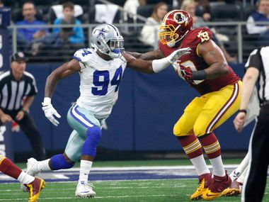 FILE - In this Jan. 3, 2016, file photo, Washington Redskins tackle Ty Nsekhe (79) blocks Dallas Cowboys defensive end Randy Gregory (94) during an NFL football game in Arlington, Texas. Nsekhe has gone from the Arena Football League to the Canadian Football League finally sticking in the NFL with the Redskins. The 31-year-old is now their starting left tackle during Trent Williams' four-game suspension and is beginning his audition for a job somewhere next season.
