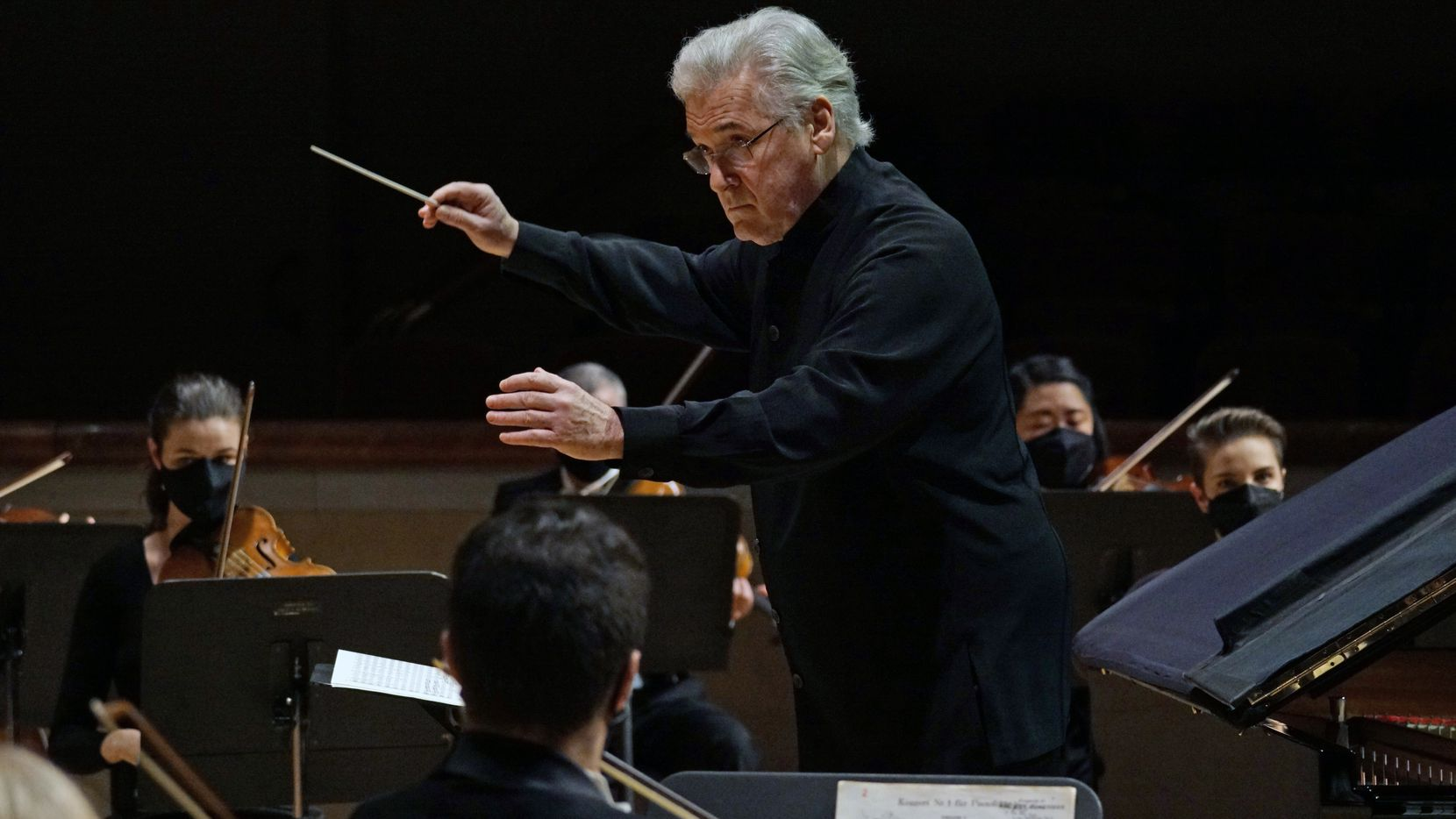 Guest Conductor Pinchas Zukerman leads the Dallas Symphony Orchestra at the Meyerson Symphony Center in Dallas, Texas on Dec. 17, 2020.