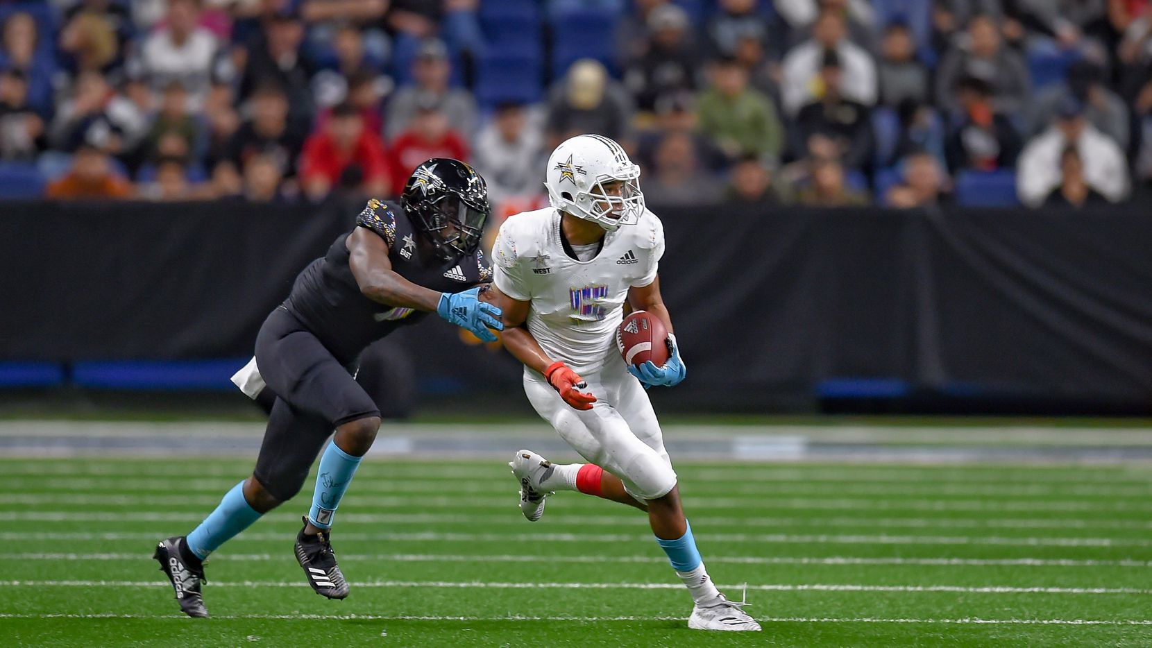 Wide receiver Bru McCoy (5) runs the ball during the All-American Bowl in January at the Alamodome. (Photo by Daniel Dunn/Icon Sportswire via Getty Images)