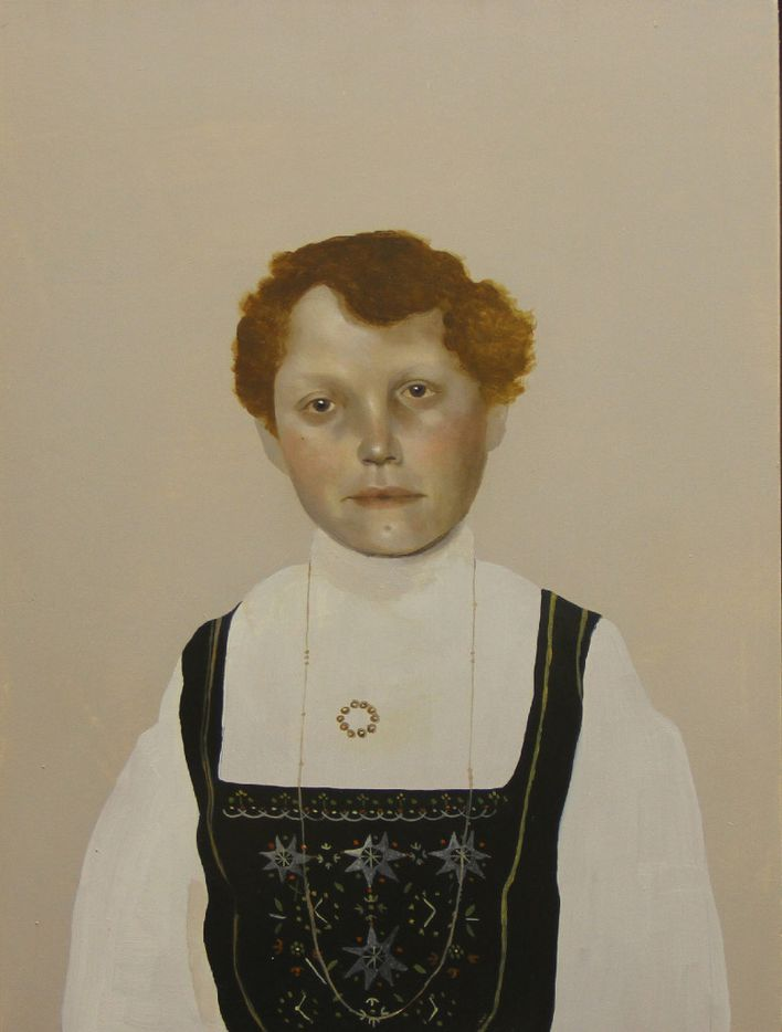 Immigrant series, Norwegian,  2016, by Sarah Ball; oil on gessoed panel