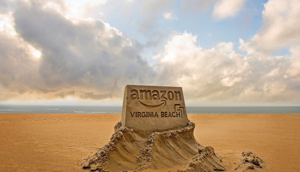 A sand sculpture promotes the Virginia Beach, Va., bid to become Amazon's second headquarters.