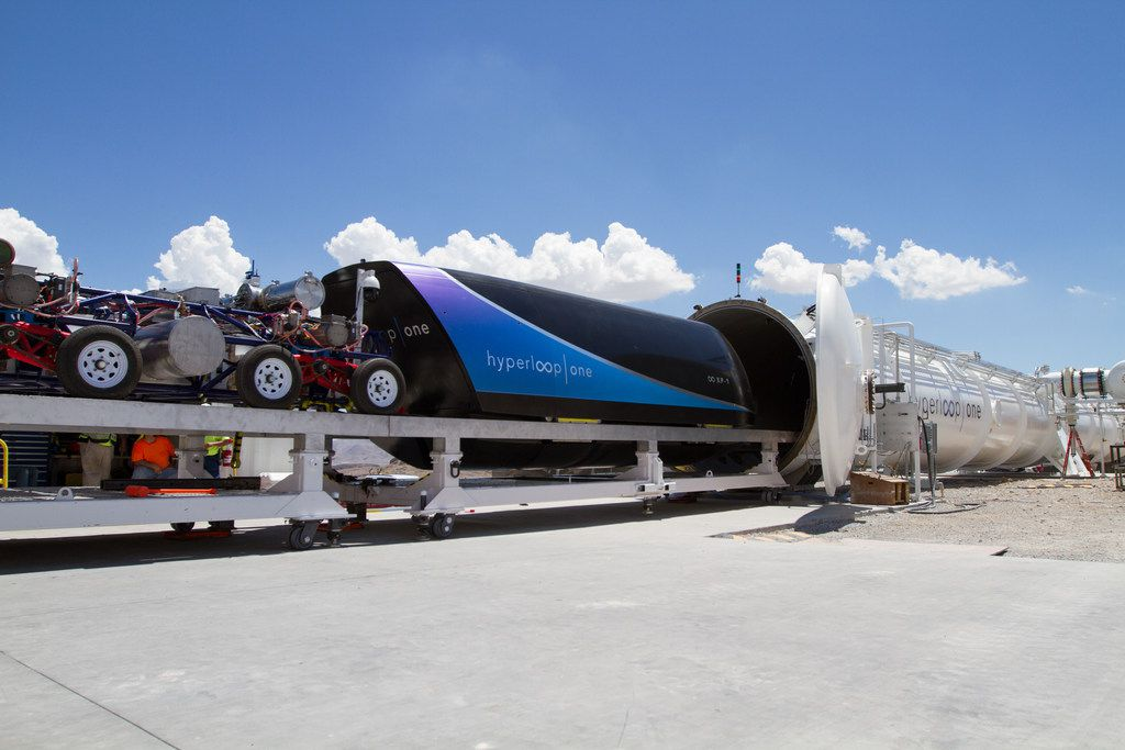 Virgin Hyperloop One has a test track in the Nevada desert. Dallas-Fort Worth area transportation officials visited the site to see the development of hyperloop technology. The pods resemble a railroad car. They would have seating that's similar to the cabin of a plane or the inside of a train.