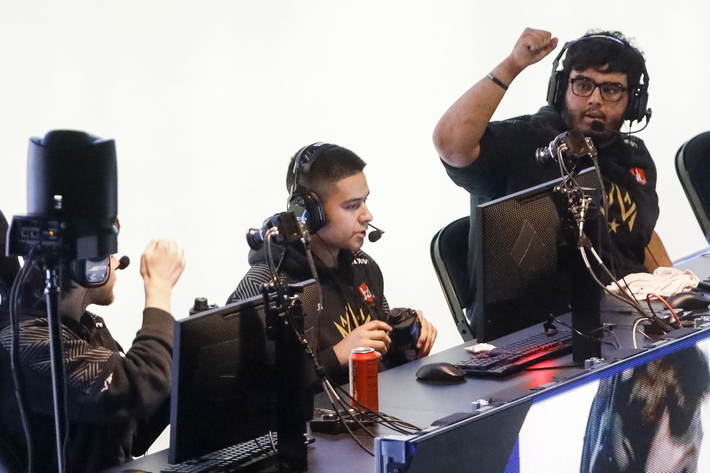 """Indervir """"iLLeY"""" Dhaliwal (right) reacts with Anthony """"Shotzzy"""" Cuevas after winning a game for Dallas Empire against Chicago OpTic during the Call of Duty League Major V tournament at Esports Stadium Arlington on Sunday, Aug. 1, 2021, in Arlington. Empire finished 4th in the tournament after a 3-1 loss to OpTic. (Elias Valverde II/The Dallas Morning News)"""