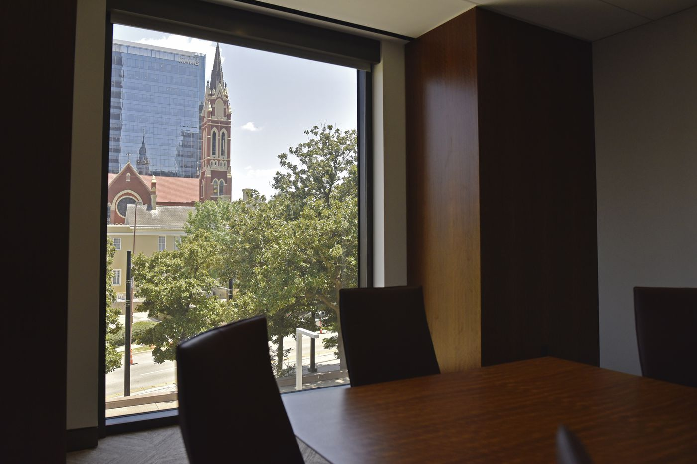 A meeting room with a view of the Catholic Cathedral inside the newly updated Trammell Crow Center in downtown Dallas.