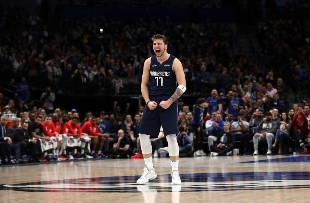 Luka Doncic #77 of the Dallas Mavericks reacts during play against the Sacramento Kings in the second half at American Airlines Center on February 12, 2020 in Dallas, Texas. (Ronald Martinez/Getty Images/TNS)