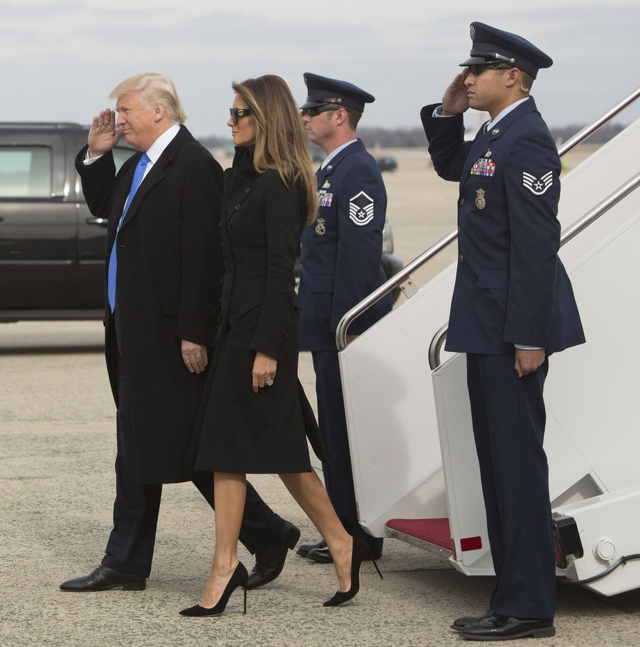 President-elect of The United States Donald J. Trump and first Lady-elect Melania Trump arrive at Joint Base Andrews the day before his swearing in January 19, 2017 in Maryland. Hundreds of thousands of people are expected to come to the National Mall to witness Trump being sworn in as the 45th president of the United States.