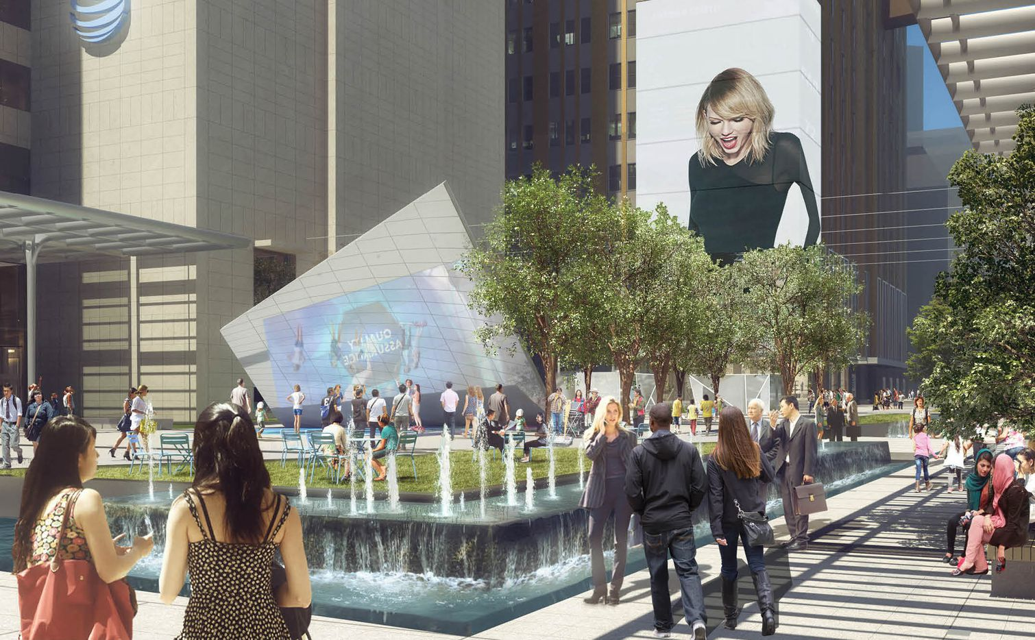 A 6-story tall video wall, water features and art are included in the revamped plaza area.