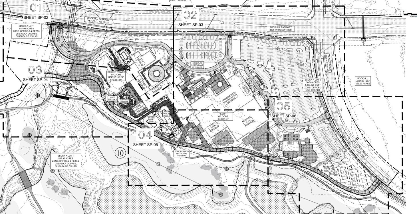 Site plans for the project show a sprawling resort on 30 landscaped acres.