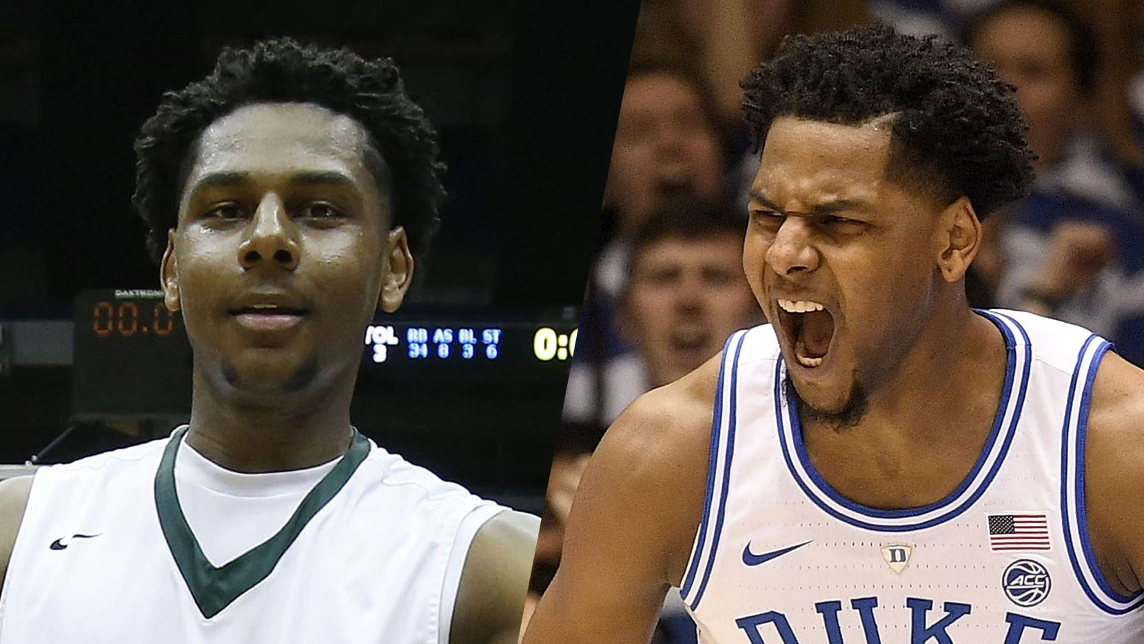 Marques Bolden with DeSoto in 2016 (left) and Duke in 2019.