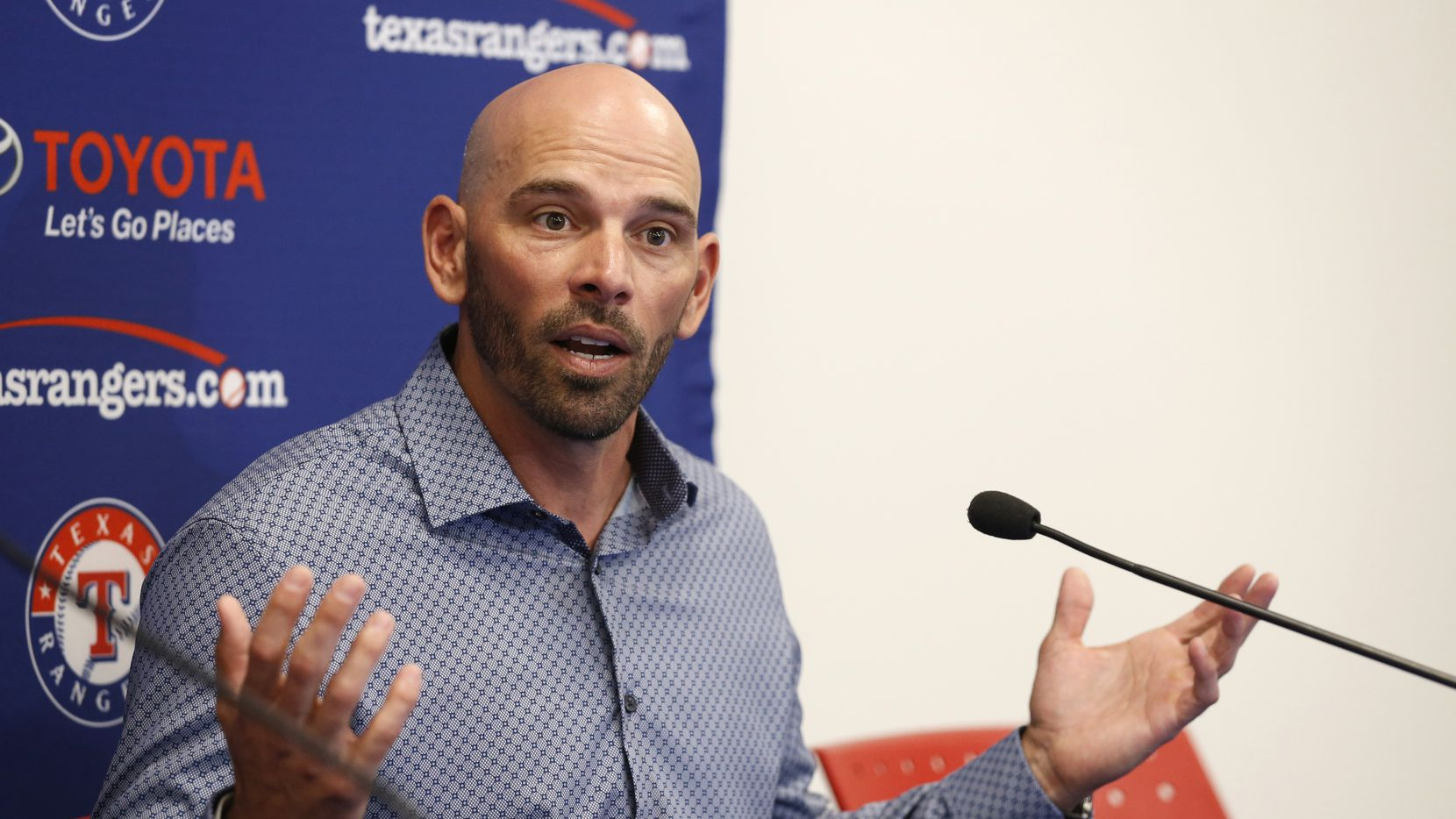 Texas Rangers manager Chris Woodward answers questions during a press conference at Mercy Street Sports Complex in Dallas on Wednesday, January 15, 2020.