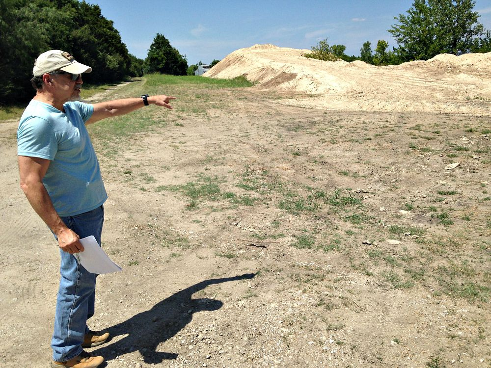 It was this pile of dirt that got Brooks interested in the latest doings at Samuell Farm. City officials say it was excavated from aquatic-center sites and will be used for the Dallas Zoo's whooping crane breeding facility. (Robert Wilonsky/Staff)